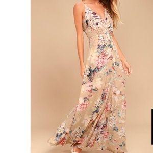LULUS | Cream Floral Maxi Dress